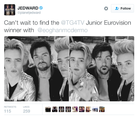 jedward tg4 junior tweet